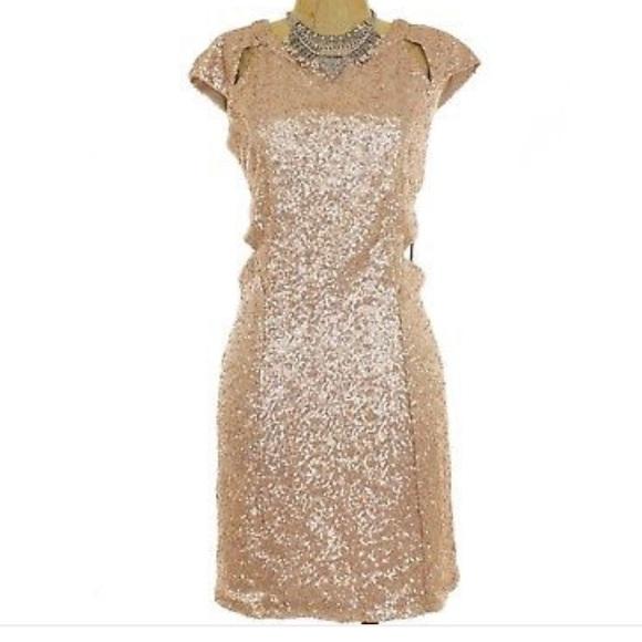 6065076ee Trixxi Dresses | E Girl Junior Champagne Sequin Cutout Dress | Poshmark